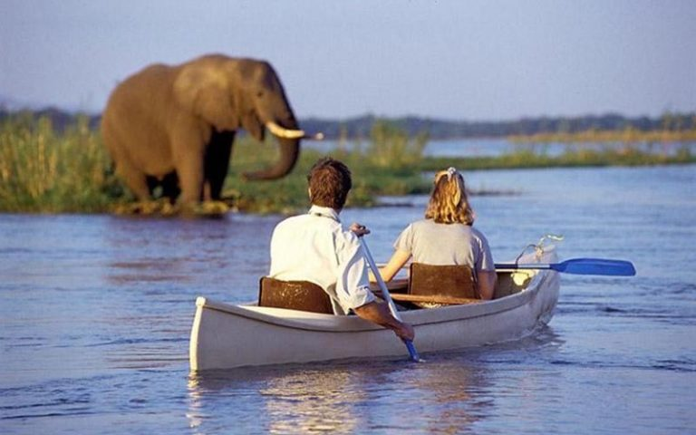 Canoeing on Lake Manyara